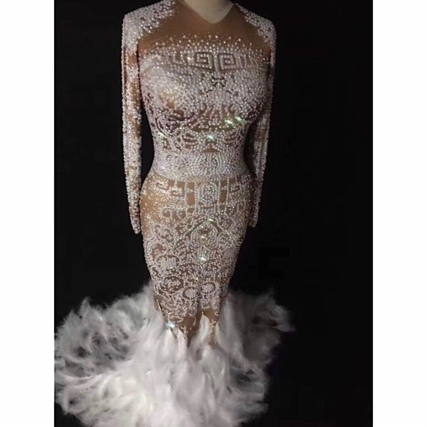 21796c23cb39 White Feather Crystal Dress – PinkButterfliBoutique