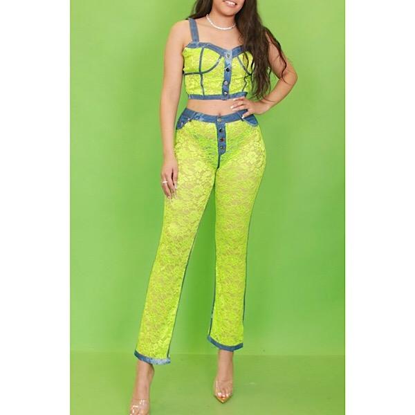 b02fc2e6d9ac Denim Lace Bustier and Pants Set – PinkButterfliBoutique